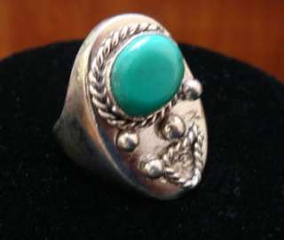 American Sterling Silver Turquoise Mens Ring 24.3 Grams OLD PAWN