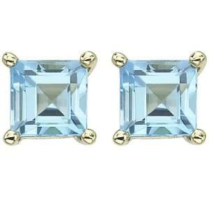 14K Yellow Gold Square Blue Topaz Earrings Jewelry