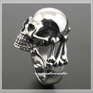 Heavy 316L Stainless Steel Skull Bone Men`s Biker Ring 3K002