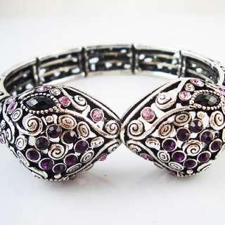 Snake Silver plated bracelet Full rhinestone BR105
