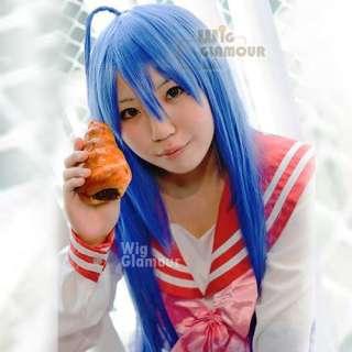 Lucky Star Izumi Konata Long Straight Blue Cosplay Beautiful Hair Wig