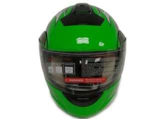 TRIBAL GREEN MODULAR FLIP UP FULL FACE MOTORCYCLE HELMET DOT ~XL