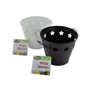 metal bucket with stars assorted colors   Case of 24