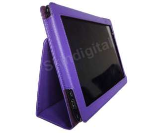 For Acer Iconia Tab A500 A501 Purple GENUINE LEATHER Case Cover