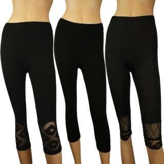 Womens Ladies Slim Black Seamless Pants Trouser #30