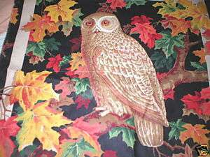 Cotton Fabric Pillow Panel Fall OWL leaves 17 x 18