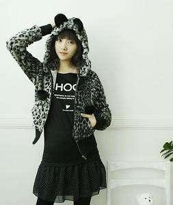 Lolita cat ears hoodie GRAY leopard print hoody Jacket