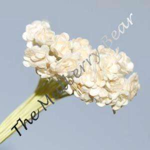 100 Tiny White MULBERRY PAPER FLOWERS for Paper Piecing