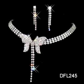 Wedding Br​idal crystal necklace earring costume sets TL0245