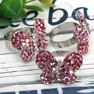 Pink AB Crystal Rhinestone Butterfly Adjustable Ring
