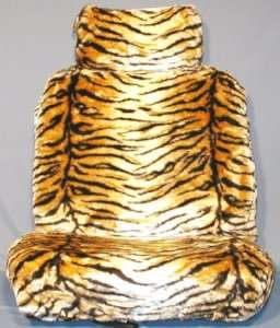 CAR SEAT COVERS   TIGER PRINT BROWN   FRONT PAIR   NEW