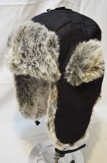 NEW BOMBER WOOL FAUX FUR WARM SKI EAR FLAP RUSSIAN TRAPPER HAT BLACK