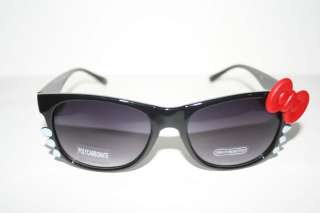 Wayfarer Sunglasses Hello Kitty lrg Red Bow Black frame Shades 80s