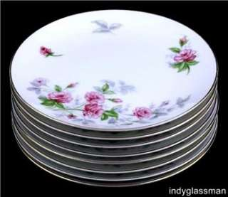 SWEET HEART   BREAD SIDE PLATES   PINK ROSES   JAPAN   GOLD