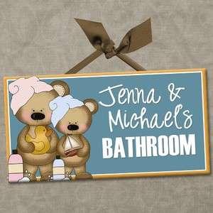 PERSONALIZED Kids Room Door Sign BATHROOM   BATH TIME BEARS Cute Wall