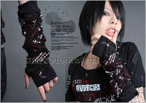 Punk Rock Gothic Bandage Fingerless Glove red stripes