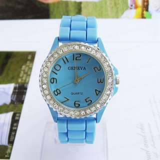 Crystal Silicone Jelly Quartz Sports Watch Men Lady Women 8 Colors