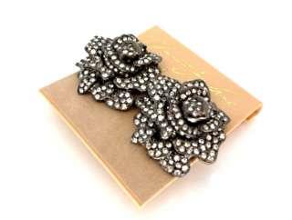 Kenneth Jay Lane Gunmetal & Swarovski Crystal Rose Flower Earrings