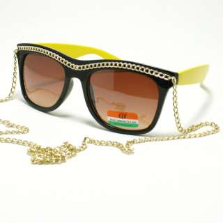 CELEBRITY Pop Star Gold Chain Sunglasses 80s Retro Style BLACK and