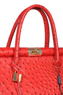 NWT Genuine leather purse satchel handbag tote with strap red.Made in