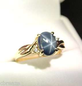ROYAL BLUE GENUINE STAR SAPPHIRE & DIAMONDS 10K GOLD VINTAGE RING