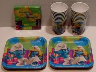 Smurfs Birthday Party Set 16 Paper Dessert Plates Cups Beverage