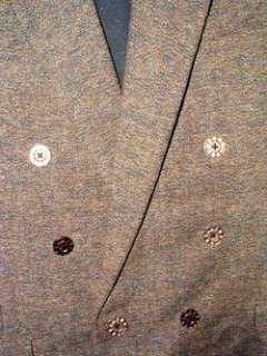 Men WOOL Jacket DB Coat OLIVE BROWN TWEED Blazer 42 R