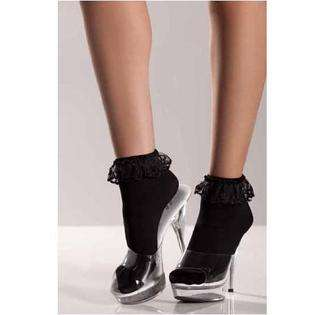 Be Wicked Black Lace Top Anklet Socks Womens One Size (up to 160 lbs