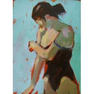 Fixing the Strap, Original Painting, Home Decor Artwork