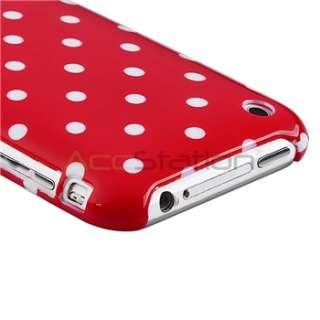 NEW RED WHITE POLKA DOT SKIN CASE Cover FOR APPLE IPHONE 3 3G 3GS 3RD