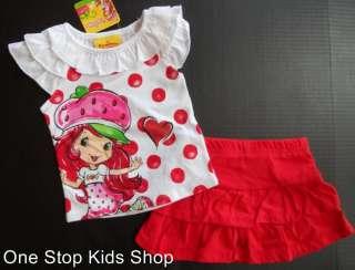 STRAWBERRY SHORTCAKE Girls 24 Mo 2T 3T 4T 5T Set OUTFIT Shirt Skirt