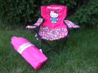 Hello Kitty Mini Camp Folding Lawn Chair with Cup Holder NEW