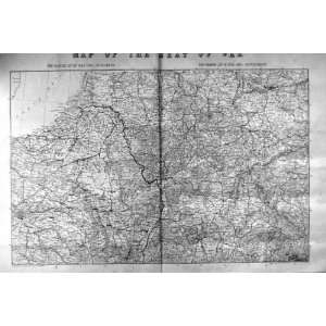 1870 ANTIQUE MAP SEAT WAR PRUSSIA OPE BAVARIA PRINT