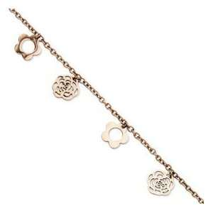 Stainless Steel Rose Gold plated Flowers 10.5in Anklet Jewelry