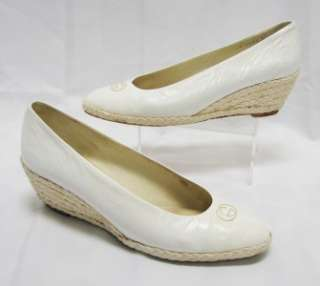 Vintage White Leather GUCCI Espadrille Wedge Pumps Size 38 7.5 8