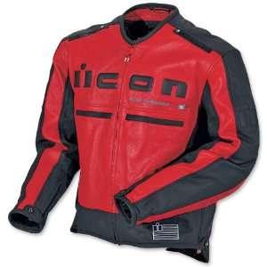 Icon Mens Motorhead Leather Jacket Red/Black Medium