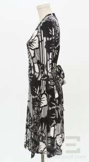 DVF Diane Von Furstenberg Black & White Print Long Sleeve Wrap Dress