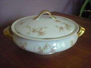 Haviland PINK SPRAY,Limoge Covered Vegetable Bowl, gold