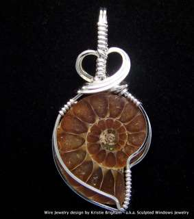 polished AMMONITE FOSSIL Sterling Silver WIRE WRAP PENDANT