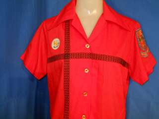 vtg BOEING AIDA RED KING LOUIE WOMENS BOWLING SHIRT 34