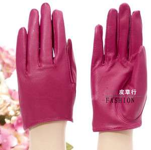 Womens Genuine Leather Gloves Desire City Pink Red Black #S Half Bare