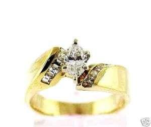 09 CT Ladys Diamond Engagement Ring 14K Yellow Gold
