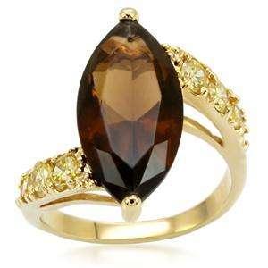 Yellow Citrine Smokey Brown Topaz CZ Gold Ring Plus Size 9 USA Seller