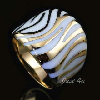 18k Gold Plated White Enamel Zebra Print Fashion Ring