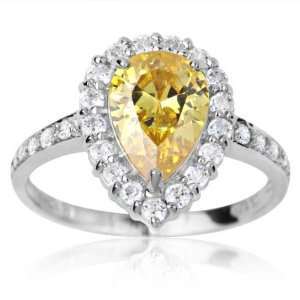 10k White Gold and Pear Cut Yellow Cubic Zirconia Debutante Ring 7.0