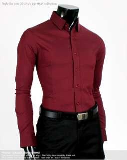 High Quality Slim Fit Wine Mens Dress Shirts US size L