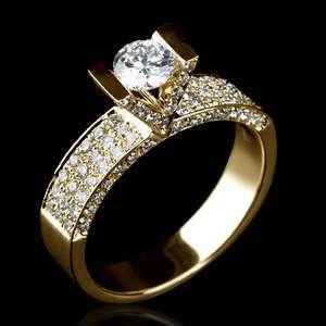 CARAT REAL DIAMOND ENGAGEMENT RING 18K YELLOW GOLD YG
