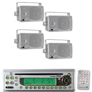 Pyle Marine Radio Receiver and Speaker Package   PLCD10MR