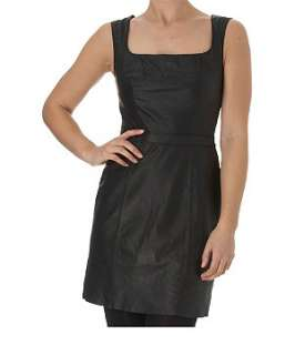Black (Black) Leather Shift Dress  205105901  New Look