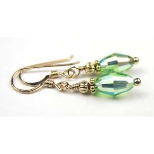 Damali 14K Gold August PERIDOT Swarovski Crystal Elements Earrings   1